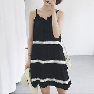 Strappy Lace Trim A-line Dress