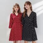 Bell-sleeve Dotted Chiffon Mini Dress