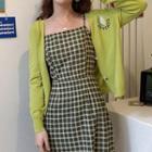 Plaid Spaghetti-strap A-line Mini Dress / Avocado Embroidered Cardigan