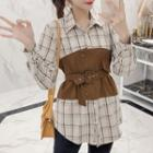 Belted Panel Plaid Shirt