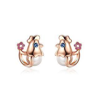 Faux Pearl Chicken Stud Earrings