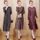 Long-sleeve Paneled Floral-pattern Midi A-line Dress