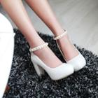 Faux Pearl Ankle Strap Chunky Heel Pumps