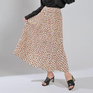 Crystal-pleat Maxi Pattern Skirt Ivory - One Size