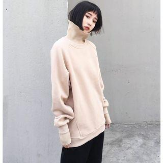 Loose-fit Turtleneck Mock Two-piece Pullover Khaki - One Size