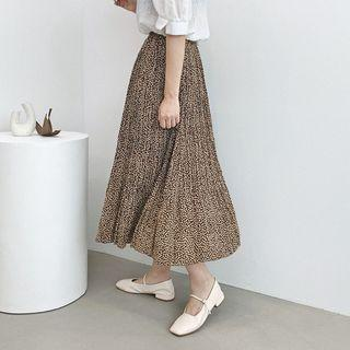 Patterned Long Accordion-pleat Skirt