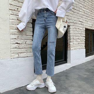 Slim Fit Straight Cut Ripped Cropped Jeans