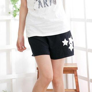 Star Appliqué Cotton Shorts