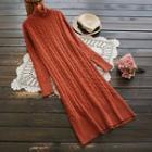 Turtleneck Cable Knit Midi Dress