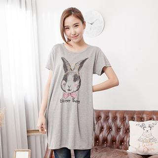 Long Rabbit-print Top