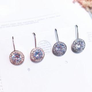 Rhinestone Drop Earring 1 Pair - A - Silver - One Size