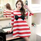 Bow-accent Striped A-line Dress