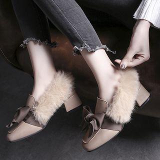 Bow-accent Faux Fur Block Heel Pumps