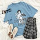 Short-sleeve Angel Printed T-shirt Blue - One Size