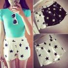 Star Print Band Waist Shorts