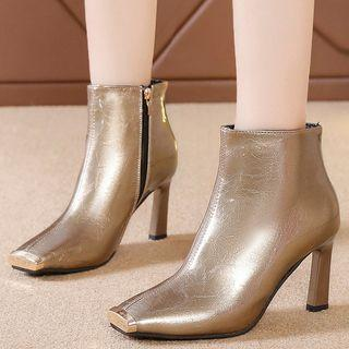 High-heel Square-toe Short Boots