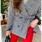 Contrast-trim Houndstooth Double-breasted Blazer With Sash Black - One Size