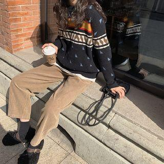 Patterned V-neck Knit Vest / Sweater