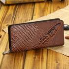 Genuine-leather Croc-grain Long Wallet