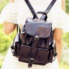 Belted Faux Leather Backpack