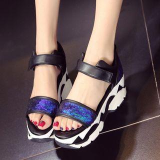 Platform Sequined Sandals