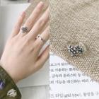 925 Sterling Silver Flower Open Ring K409 - One Size
