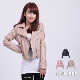 Faux-leather Side-zip Jacket