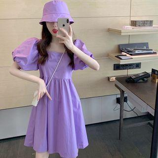 Set: Puff Short-sleeve A-line Dress + Bucket Hat
