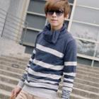 Striped Cowl-neck Knit Pullover