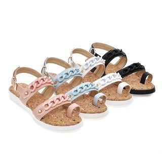 Faux-leather Woven Platform Sandals