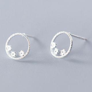 925 Sterling Silver Floral Hoop Earring As Shown In Figure - One Size
