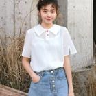 Short-sleeve Chiffon Polo Shirt White - One Size