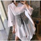 Set: 3/4-sleeve Shirt Dress + Belt