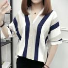 Short-sleeve V-neck Striped Shirt
