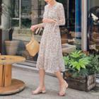 Wrap-front Midi Floral Dress