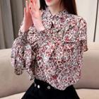 Long-sleeve Ruffled Floral Chiffon Top