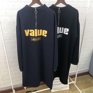 Half-zip Lettering Sweatshirt Dress