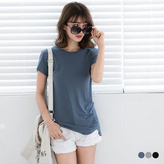 Shirred Hem Jersey T-shirt