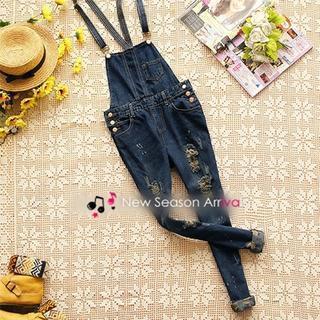 Distressed Suspender Jeans