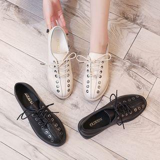 Lace-up Low Heel Oxfords