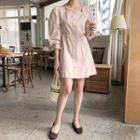 Square-neck Puff-sleeve Minidress