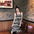 Asymmetric Hem Patterned Sleeveless Dress