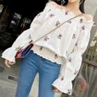 Off-shoulder Embroidered Ruffled Top
