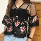 Set: Mesh Panel Floral Print Short-sleeve Top + Camisole Top