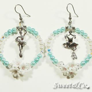 Ballerina Blue Pearl Hoop Silver Earrings