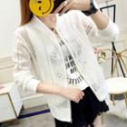 Perforated Lace Zip Jacket