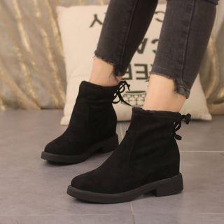 Block Heel Fleece Lined Short Boots
