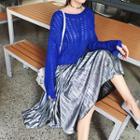 Wet-look Pleated Skirt