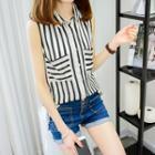 Striped Sleeveless Chiffon Shirt