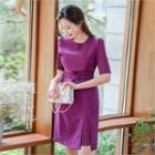 Short-sleeve Pleated-trim Dress With Belt